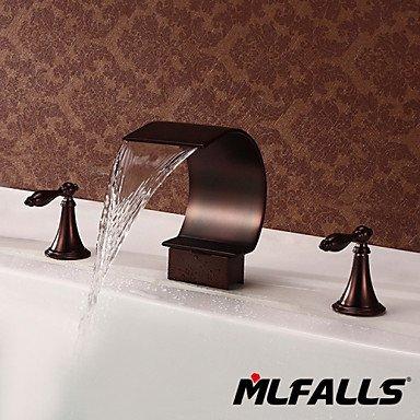 WA Wasserhahn,Badezimmer Waschbecken oder Badewanne Wasserfall Wasserhahn Füller Hand Öl eingerieben Bronze Duscharmatur (Rasieren Öl)