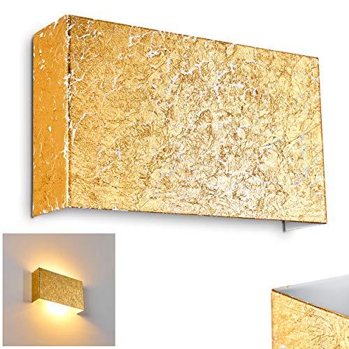 Wandlampe Crotone, eckige Wandleuchte aus Metall in Gold m. Lichtspiel an der Wand, 2 x E14 max. 40 Watt, Innenwandleuchte mit Up & Down-Effekt in Struktur-Gold-Optik, geeignet für LED Leuchtmittel