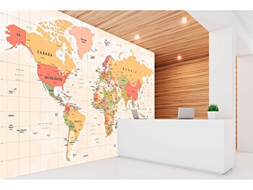 Fotomural Vinilo Pared Mapamundi Político Fondo Beige | Fotomural para paredes | Mural | Vinilo Decorativo | Varias Medidas 200 x 150 cm | Decoración comedores, salones, habitaciones...