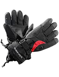 Black Canyon Skiing Gloves - Guantes de esquí para hombre, tamaño S, color negro / rojo