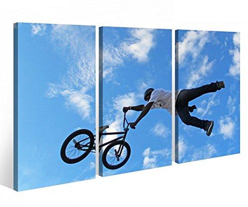 Leinwandbild 3 Tlg. Fahrrad BMX Mountainbike Sport bike Leinwand Bild Bilder Holz fertig gerahmt 9P818, 3 tlg BxH:120x80cm (3Stk 40x 80cm) (Sport-bilder Gerahmt)