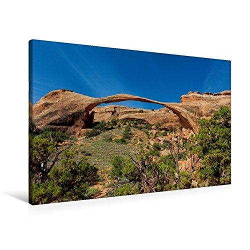 Calvendo Premium Textil-Leinwand 90 cm x 60 cm quer, Landscape Arch, Arches Nationalpark, Utah | Wandbild, Bild auf Keilrahmen, Fertigbild auf echter Leinwand, Leinwanddruck Orte Orte
