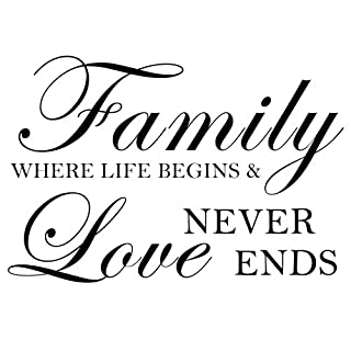 Family Where Life Begins And Love Never Ends - Wall Decal Home Decor Craft (Black, Medium)