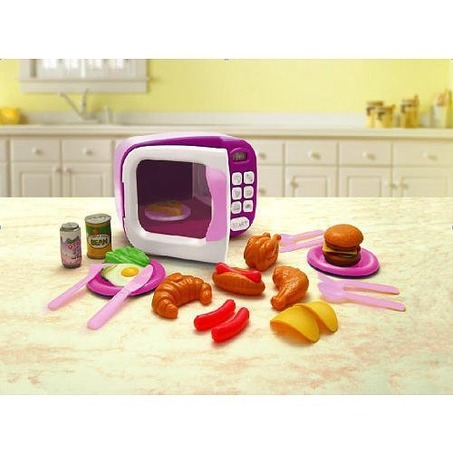 Just Like Home Microwave - Pink With Play Food (10 Pieces) by Toys R Us