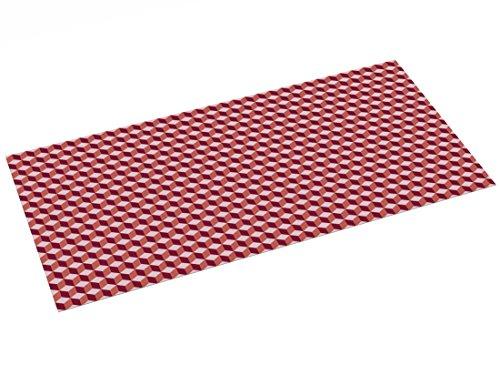 Printodecor - Alfombra Vinílica diseño Geométrico, Rojo, 97 x 48 cm