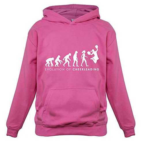Evolution of Woman - Cheerleading - Kinder Hoodie/Kapuzenpullover - Rosa - L (7-8 (Kostüme Cheerleading Kleinkind)