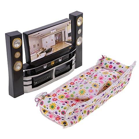 MagiDeal Mobilier de Maison de Poupée Hi-Fi TV Cabinet Lecteur Audio Canapé Décoration Pour Barbie