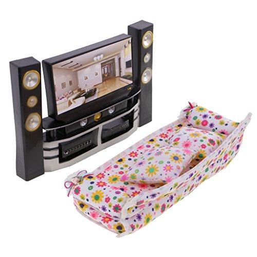 MagiDeal Mobilier de Maison de Poupée Hi-Fi TV Cabinet Lecteur Audio Canapé Décoration Pour Barbie Dolls