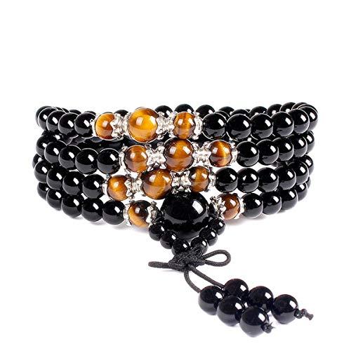 Newpi bracciale multistrato occhio di tigre naturale 108 perle con branelli di preghiera, in amazzonite sfaccettata bracciale collana in pietre naturali benefiche.