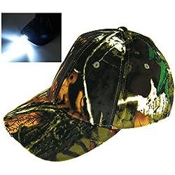 Avec la batterie! Lumière 5 LED camouflage Camo chasse jungle pêche chapeau Cap Vintage randonnée chapeau