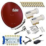 FUBA 6 TEILNEHMER DIGITAL SAT ANLAGE DAA850R + 0,1dB LNB FULL HDTV 4K + PMSE Multischalter 9/6 + 30 Vergoldete F-Stecker Gratis dazu