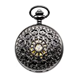 28e22eb9231e treeweto Hombres de la Steampunk Spider Web esqueleto mecánico reloj de  bolsillo con cadena caja de
