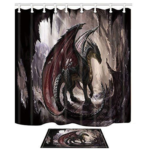 KOTOM Dragon und Höhle Vorhang für die Dusche 69X70'' 69x70'' Shower Curtain + Bath Mat (Dusche Vorhang Liner 180x70)