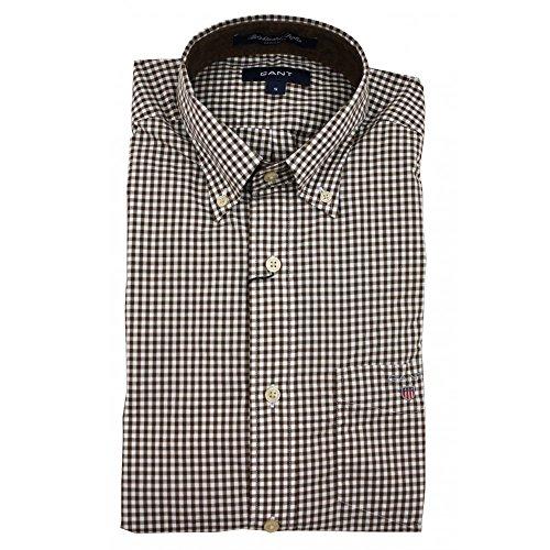 Gant S. Brightwaters Gingham-Maglietta a maniche lunghe, in popeline, da uomo marrone Small