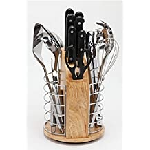 K- Pro Lazy Susan – Set de cocina – tijeras, cuchillo, cuchillo de chef, cuchillo de trinchar, cuchillo para filetear, cuchillo de pan, cuchillo multiusos y cuchillo de pelar. El utensilios incluidos son: cortador de Pizza, patatas, pasta Grabber, ensalada pinzas, batidor, espátula, cucharón y colador cuchara.
