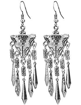 2LIVEfor Statement Ohrringe Gold Silber Ethnik Ornamente Dreieck Ohrhänger Retro Indianer Antik lang hängend Vintage...