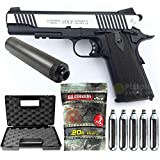 Colt-Pack 1911 Rail Gun Stainless dual Tone Co2 Full Metal-cybergun 180531- Semi Automatik (0,5 Joule) -blowback-mit Zubehör