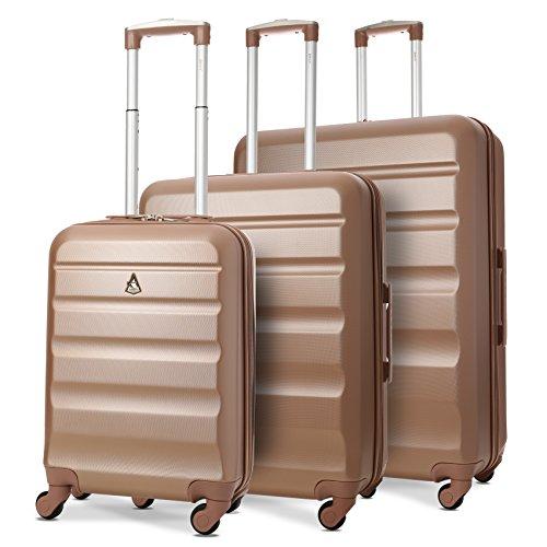 Aerolite Leichtgewicht ABS Hartschale 4 Rollen Handgepäck Trolley Koffer Bordgepäck Kabinentrolley Reisekoffer Gepäck (3 Stück Set, 55cm Handgepäck + 69cm + 79cm), Roségold/Gold