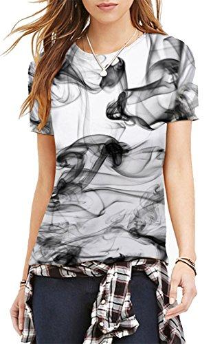 EmilyLe Fashion T-Shirt Colorate Cartoon Stampate a Manica Corta Tees per Ragazze e Donne Fumo nero