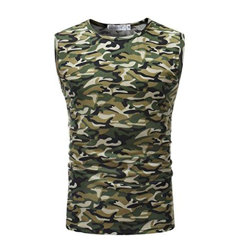Herren Tank Tops,Dasongff 2018 Mode Tanktop Herren Casual Camouflage Tops Print Shirts O Neck Sleeveless T-shirt Top Männer Weste Bluse (XL, Armee-Grün) (Verstehen, T-shirt Grünes)