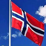 Jooks Norwegen Flagge Europa Länder Nationalflaggen Fahne Norwegen Flagge Fahne 5ft x 3ft(150*90cm)