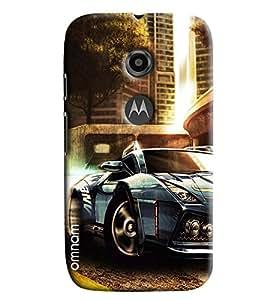 Omnam Blue Sports Car Cartoon Printed Designer Back Cover Case For Moto E2