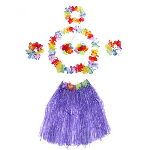 Demarkt Hawaii Party Kostüm Set von 5 Stück,Hawaiian Kostüm,Hawaii Rock,Hula Rock,Blume Stirnband,Blumen Armband Halskette Girlande, Mädchen Zubehör für Hula Luau Party, Einheitsgröße size 40cm (Lila)