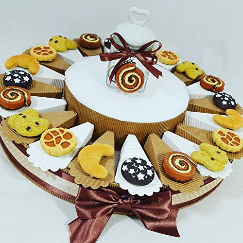 Torta bomboniere compleanno calamite magnete biscotti dolci e merendine con confetti bianchi