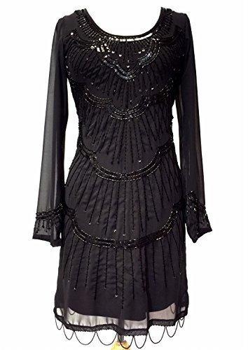 Damen 1920er Vintage Stil Charleston-mädchen Gatsby Abbey Fransen Wulstig Paillette Schiftkleid - Schwarz, (Flapper Mädchen Kleid Für)