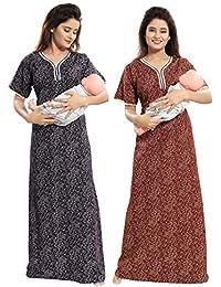 TUCUTE Women Beautiful Print Poly-Cotton Invisible Zip Pattern  Feeding Maternity Nursing Nighty Night Gown Nightwear… 3de3e5b76