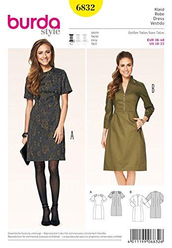 Klassische Westen Gesteppte (Burda Damen Schnittmuster Glossy 6832–Spannbettlaken Kleider mit Taschen)