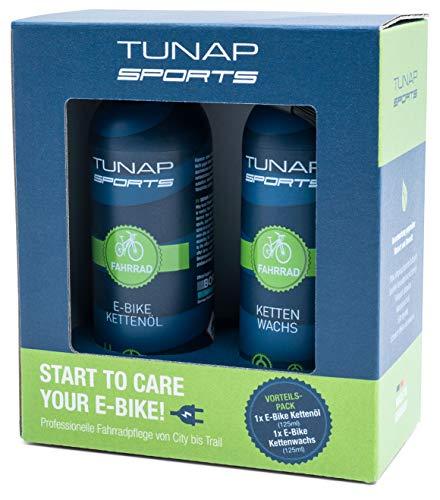 TUNAP SPORTS E-Bike Ketten-Schmierset mit Kettenöl + Kettenwax, 2X 125 ml | Fahrrad Langzeit-Schmierung für Ritzel, Schaltwerk und Kette