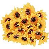 Ideen mit Herz Deko-Blüten, Kunstblumen, Blüten-Köpfe, Verschiedene Sorten, ca. Ø 4-5 cm (Sonnenblumen - gelb - 18 Stück)