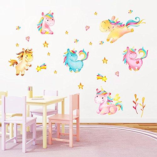 Decalmile Coloré Licornes Stickers Muraux Chambre Bébé Autocollants