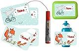 wolga-kreativ Set 4 Aufkleber und Permanentmarker wasserfest Hase Fuchs für Brotdose oder Trinkflasche Namensaufkleber