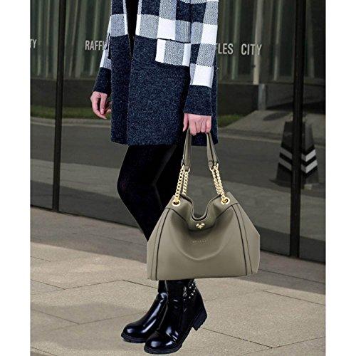 LeahWard Frauen Faux Leder Umhängetasche Tragetaschen Handtaschen für Frauen Schulferien CW190 (Burgund Hobo Tasche mit Faux Pelz Charm) Grau Umhängetasche mit Kette