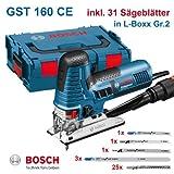 Bosch GST 160 CE Scie sauteuse professionnelle avec 31 lames de scie dans coffret L-Boxx