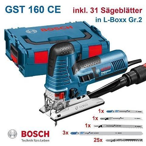 Bosch Stichsäge GST 160 CE Professional + 31 Stichsägeblätter, in