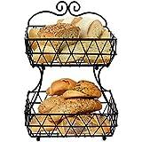esylife Corbeille à fruits Corbeille à pain en métal noir à 2étages avec support
