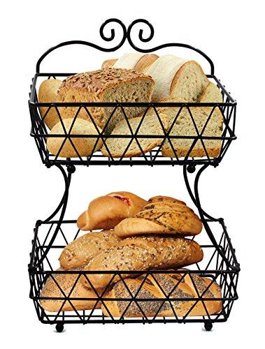 Esylife à 2 étages en métal Noir Corbeille à pain Corbeille à fruits de support