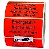 Aufkleber - Bruchgefahr! Nicht werfen! Attention! - 100 x 50 mm - 1000 Stück auf Rolle, leuchtrot, permanent haftend - Versandetikett, Warnetikett, Paketaufkleber