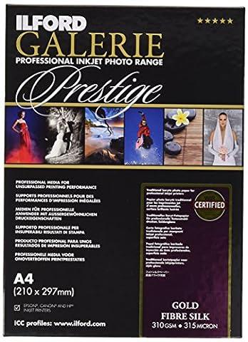 Ilford galerie gold fibre silk prestige 310 g/m² a4 25 feuilles de papier photo pour imprimante à jet d'encre et une imprimante baryt