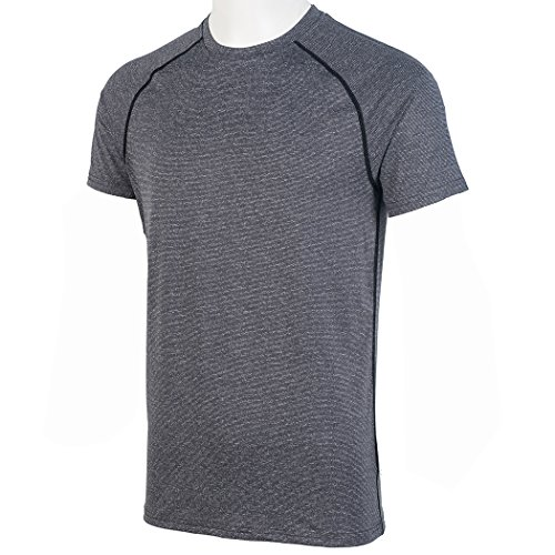 H.MILES Mens Running T-Shirt Training Tee Short Sleeve Sports Top Gym Fitness Exercise Quick Dry