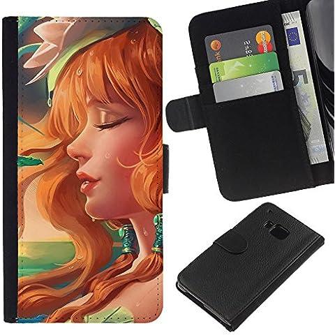 // PHONE CASE GIFT // Moda Estuche Funda de Cuero Billetera Tarjeta de crédito dinero bolsa Cubierta de proteccion Caso HTC One M9 / Sexy Redhead