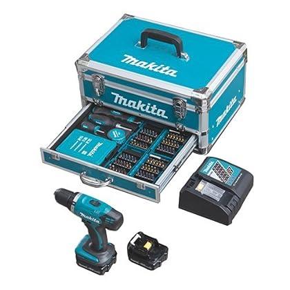 Makita batería-martillo-Set DHP453RYX2 de aluminio incluye 96 piezas accesorios de 18 V 1, 5Ah