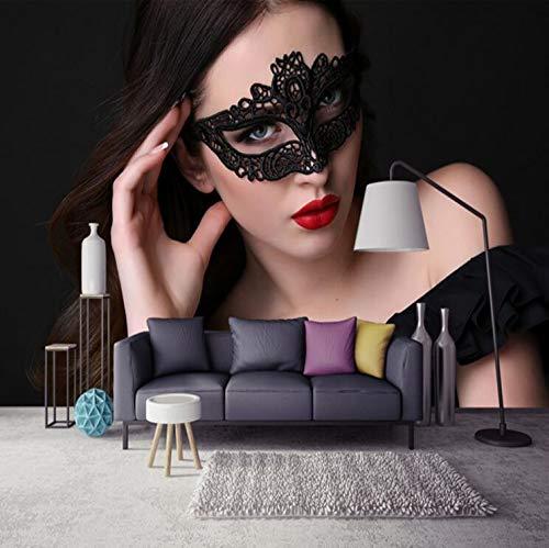 Moderne Tapete der modernen reizvollen roten Lippen 3D Tapetenhintergrundwand mit schwarzer Augenbinde, 300 × 210cm