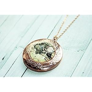 Weltkarte - Globus Freundschafts Medallion Kette, 70cm, roségoldfarben/silber/bronze, Glücksbringer Freundschaftskette, das perfekte handgefertigte Geschenk für die beste Freundin oder liebste Schwester