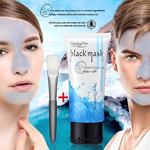 Masque anti-Point Noir LuckyFine Masque Mer Morte Boue Point Noir Peel-off Nettoyage Pores en Profondeur+Brosse Pinceau