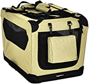 AmazonBasics Premium Folding Portable Soft Pet Dog Crate Carrier Kennel - 26 x 18 x 18 Inches, Khaki