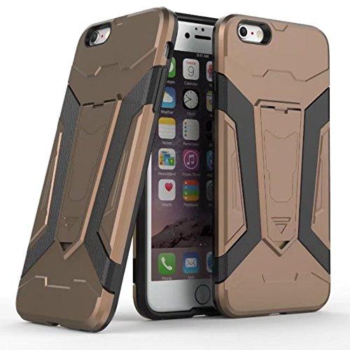 UKDANDANWEI Apple iPhone 5 Coque, 【Armor Man】Combo Housse Hybride Etui Robuste Protection de Double Couche d'Armure Lourde Bumper Case avec Béquille pour Apple iPhone 5 - Argenté Café